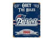 "Party Animal Patriots Vintage Metal Sign - ""Obey The Rules"" - 11.5"" Width x 14.5"" Height - Steel"