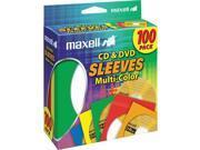 MAXELL 190132 CD403 CD DVD Storage Sleeves 100 pk; Colors