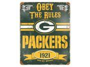 "Party Animal Packers Vintage Metal Sign - ""Obey The Rules"" - 11.5"" Width x 14.5"" Height - Steel"