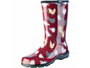 Sloggers Womens Chicken Print Rain And Garden Boot Red Size 8