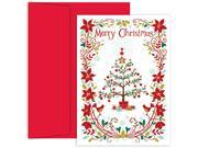 JAM Paper® - Christmas Tree & Poinsettias Card Pack - 18 Holiday Cards & Envelopes per pack 9SIV0AE2V10636