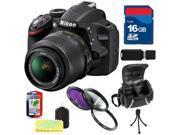 Nikon D3200 w/ 18-55mm VR Lens + 16GB Accessory Kit - Black