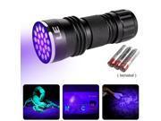 LE® 21 LEDs UV LED Flashlight, Blacklight, 395nm Utlra Violet, 3 AAA Batteries Included