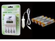 Bundle Package FANTASMA OWL Smart 1-hour Fast Car Charger and AA-size 2000mAh Ni-MH Rechargeable Battery (4 count)