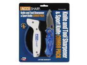 AccuSharp Sharpener & Sport Folding Knife Combo Blue 041C