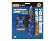 Accusharp SharpNEasy 2-Step Sharpener & Sport Knife Blue 044C
