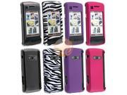 Hot Pink Clip-on Rubber Coated Case + Dark Purple Clip-on Rubber Coated Case + White / Black Zebra Clip-on Case + Clear Clip-on Crystal Case compatible with LG