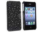 eForCity Black Rhinestone Bling Hard Case Cover Compatible With iPhone® 4 4G