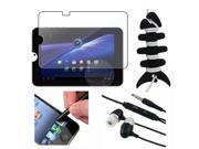 eForCity Premium Lcd Clear Screen Protector + Black Stylus Pen + Black Stereo Headphone/Earphone Earbud + Black Fishbone Headset Earphone Cord Wrap For Toshiba
