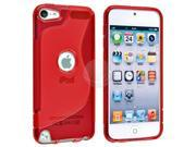 eForCity TPU Rubber Skin Case Cover Compatible With Apple® iPod Touch 5th Generation / iPod Touch 5 - Clear Red S Shape