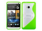 MYBAT Transparent Clear/Solid Green (S Shape With Stand) Gummy Cover for HTC One/M7