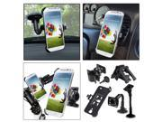 eForCity Swivel Car Air Vent + Car Air Vent + Windshield Mount with 1 Phone Plate compatible with Samsung i9500 Galaxy S4 S IV S 4