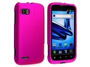 Snap-on Rubber Coated Case compatible with Motorola Atrix 2 MB865, Hot Pink