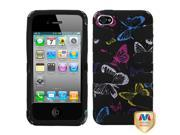 MYBAT Vivacious Butterfly(2D Silver)/Black Fishbone Phone Protector Faceplate Cover Compatible With Apple® iPhone 4S/4/4G