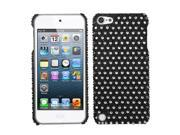 Apple iPod Touch 5th Gen/6th Gen Case, eForCity Dots Rhinestone Diamond Bling Hard Snap-in Case Cover Compatible With Apple iPod Touch 5th Gen/6th Gen, Black/White