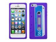 Apple iPhone 5/5S Case, 3D Cassette Rubber Silicone Soft Skin Gel Case Cover for Apple iPhone 5/5S, Purple/Blue