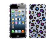 Apple iPhone 5/5S Case, Leopard Hard Snap-in Case Cover for Apple iPhone 5/5S, Silver/Colorful