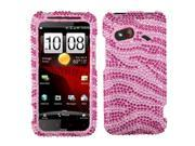 MYBAT Hot Pink/ Light Pink Zebra With Full Rhinestones Faceplate Hard Plastic Protector Snap-On Cover Case Compatible With HTC DROID Incredible 4G LTE ADR6410L