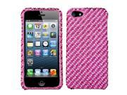 Pink/Hot Pink Stripe Bling Diamante Case Cover Protector for iPhone 5