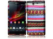 HRW for T-Mobile Sony Xperia Z Limited Quantity Rubberized Design Cover - Colorful Indian Pattern