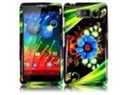 HRW for Motorola Droid Razr Maxx HD XT926M(Verizon) Design Cover - Aqua Flower