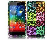 HRW for Motorola Droid Razr Maxx HD XT926M(Verizon) Rubberized Design Cover - Colorful Leopard
