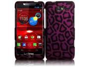 HRW for Motorola Droid RAZR M XT907(Verizon) Rubberized Design Cover - Purple leopard