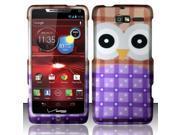 BJ For Motorola Droid RAZR M 4G LTE XT907 Rubberized Hard Design Case Cover - Big Eyes Owl