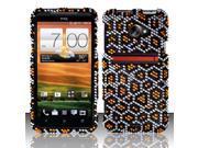 BJ For HTC Evo 4G LTE Full Diamond Design Case Cover - Gold/Black Leopard