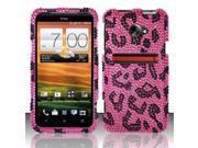 BJ For HTC Evo 4G LTE Full Diamond Design Case Cover - Pink Leopard