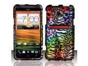 BJ For HTC Evo 4G LTE Rubberized Hard Design Case Cover - Rainbow Safari