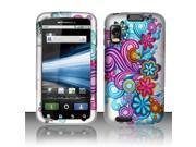 BJ For Motorola Atrix 4G MB860 Rubberized Hard Design Case Cover - Purple/Blue Flowers