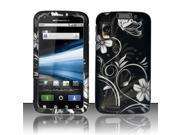 BJ For Motorola Atrix 4G MB860 Rubberized Hard Design Case Cover - White Flowers