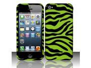 Apple iPhone 5/5S Case, Zebra Rubberized Hard Snap-in Case Cover for Apple iPhone 5/5S, Green