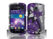 BJ For Samsung Illusion / Galaxy Proclaim i110 (Verizon/Straight Talk) Full Diamond Design Case Cover - Purple/Silver Vines FPD