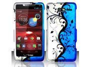 BJ For Motorola Droid RAZR M 4G LTE XT907 (Verizon) Rubberized Design Case Cover - Blue Vines