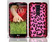 BJ For LG G2 (T-Mobile) - Rubberized Design Case Cover - Pink Leopard