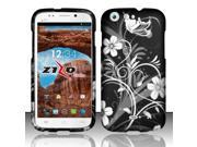 For BLU Life One L120 - Rubberized Design Cover - White Flowers
