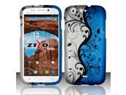 For BLU Life One L120 - Rubberized Design Cover - Blue Vines