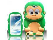 BJ For Samsung Galaxy Note 2 - Monkey 3D Silicon Cover - Neon Green SCMK 9SIA0PG1PB7493