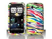 BJ For HTC Sensation 4G - Rubberized Design Cover - Colorful Zebra