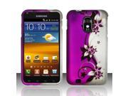 BJ For Samsung Epic Touch 4G D710 / Galaxy S2 (Sprint) Rubberized Design Cover - Purple / Silver Vines