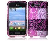HRW For LG Optimus Zone 2 L34C Fuel Rubberized Design Cover Case - Pink Exotic Skins
