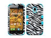 MYBAT Zebra Skin / Tropical Teal TUFF Hybrid Phone Protector Case compatible with ALCATEL 7024W (One Touch Fierce)