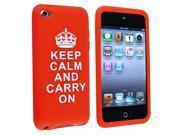 "eForCity Silicone Skin Case Compatible With Apple® iPod touch 4th Gen, Red with ""Keep Calm And Carry On""Quote"