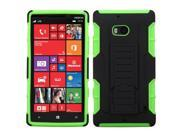 For 929 Lumia Icon Black/Electric Green Car Armor Stand Case Cover (Rubberized)