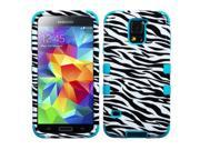 Valor Zebra Skin/Tropical Teal TUFF Hybrid Phone Protector Cover For Samsung Galaxy S5 V SV