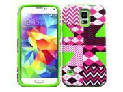HRW For Samsung Galaxy S5 Dynamic Slim Hybrid Cover Case - Hot Chevron + Neon Green 9SIA0PG1TC9543
