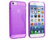 iPhone 6 / 6S Case - TPU Rubber Jelly Gel Case Cover for Apple iPhone 6 / 6S (4.7-inch), Clear Purple S Shape