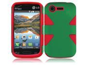 For LG Optimus Zone 2 L34C Fuel Dynamic Slim Hybrid Cover Case - Dark Green+Red